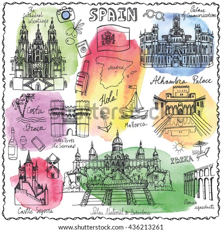 Spain Doodle landmarks.Vector famous architectural symbols,hand drawn travel sketch.Vacation icon,sign,Spanish historical monument,lettering.Spain,Europe Vintage Illustration,Watercolor background - stock vector
