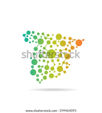 Spain dot and lines map image. Concept of networking, structure, communication - stock vector