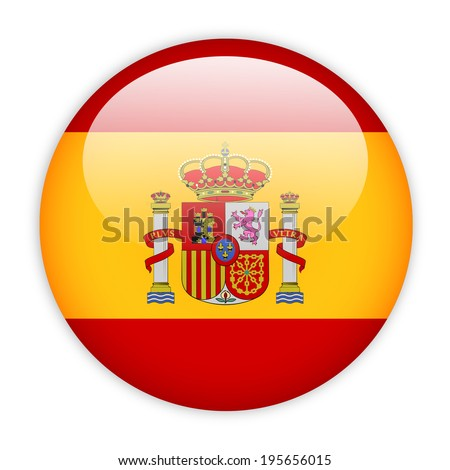 Spain flag button on white - stock vector