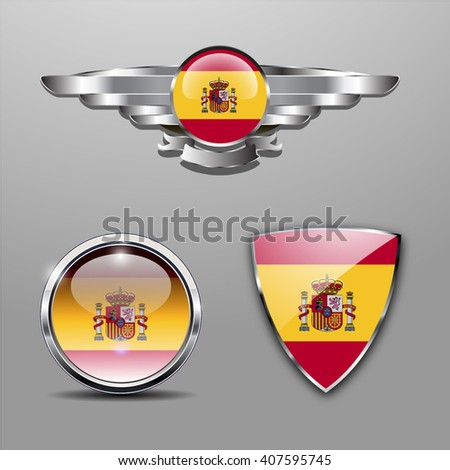 Spain Flag hat badge, shield and glossy button - stock vector