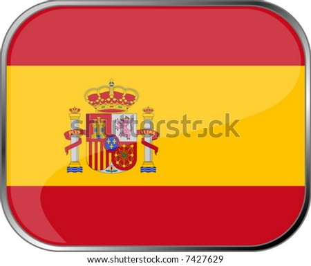 Spain flag icon with official coloring - stock vector