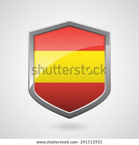 Spain Flag on a Grey Shiny Shield, Vector Illustration isolate on Grey Background - stock vector