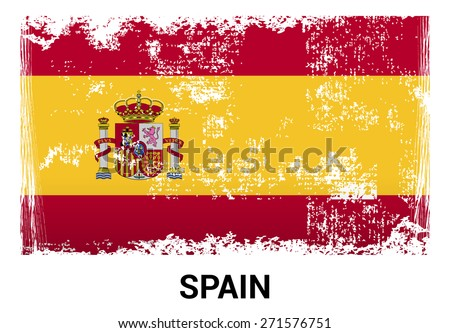 Spain grunge flag isolated vector in official colors and Proportion Correctly. country's name label in bottom - stock vector