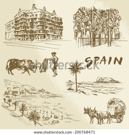 spain - hand drawn collection - stock vector