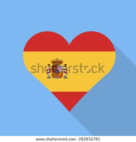 Spain heart flag flat style with long shadow. Patriotic design. Vector EPS10 - stock vector