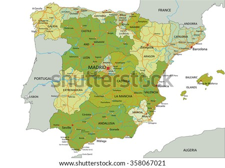 Spain - Highly detailed editable political map with separated layers.