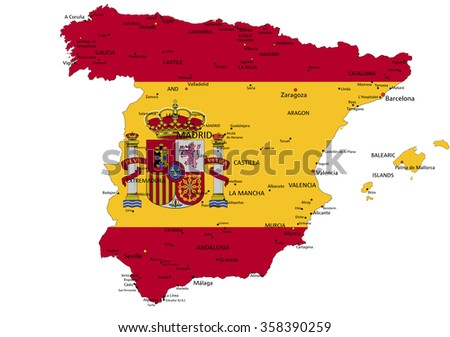Spain highly detailed political map with national flag isolated on white background. - stock vector