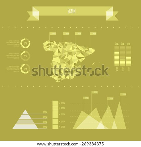 Spain Infographic Report Template - Vector Illustration - stock vector