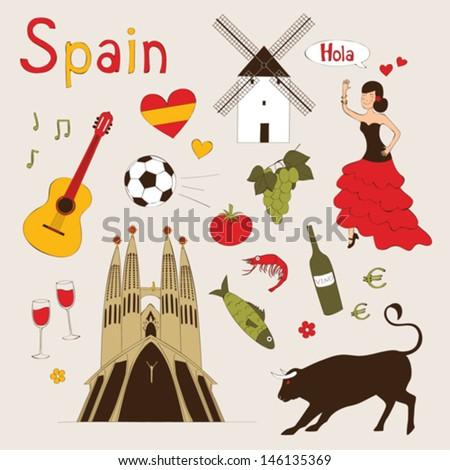 Spain - landmarks and symbols set - stock vector