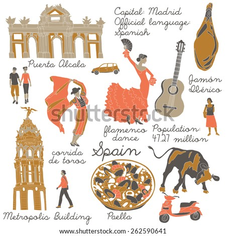 Spain , landmarks and symbols set - stock vector