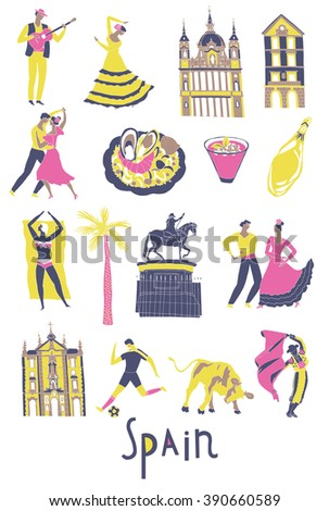 Spain. Landmarks and symbols set. Print design - stock vector