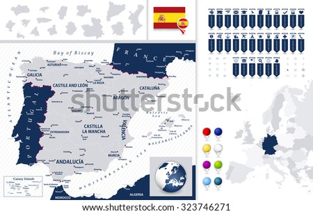Spain Map and it's states with navigation map pointers. - stock vector