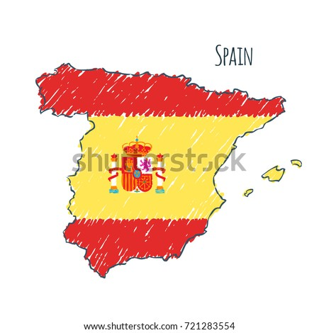 spain map hand drawn sketch vector flag childrens drawing