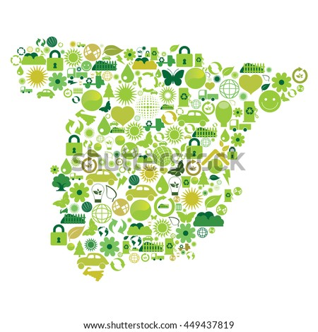 Spain map made with ecological symbols