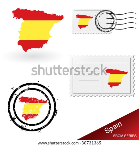 Spain map, stamps and postcard set from series. - stock vector