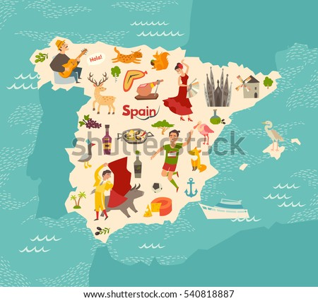 Spain map vector illustrated map spain vector de stock540818887 spain map vector illustrated map of spain for childrenkid cartoon abstract atlas gumiabroncs Gallery