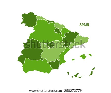Spain map with regions - stock vector