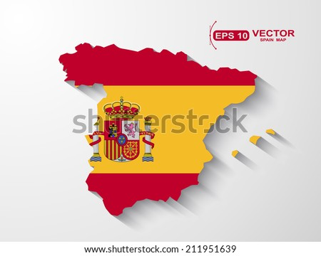 Spain map with shadow effect - stock vector