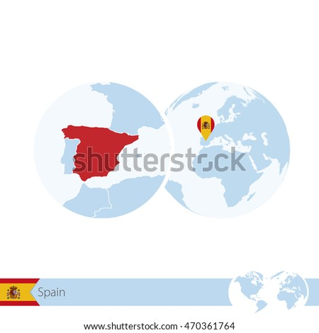 Spain On World Globe With Flag And Regional Map Of Spain. Vector  Illustration.