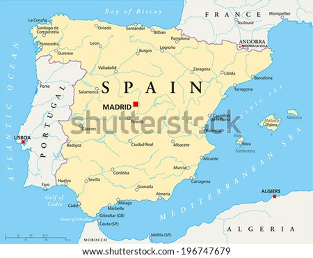 Spain Political Map with capital Madrid, national borders, most important cities, rivers and lakes. Vector illustration with English labeling and scaling.