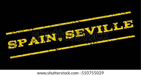 Spain Seville watermark stamp. Text tag between parallel lines with grunge design style. Rubber seal stamp with dirty texture. Vector yellow color ink imprint on a blue background.