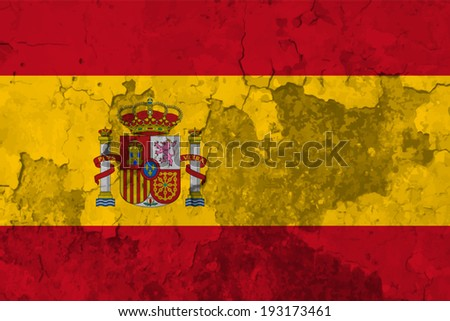 Spain, Spanish flag on concrete textured background