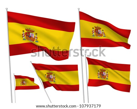 Spain vector flags. A set of 5 wavy 3D flags created using gradient meshes. - stock vector