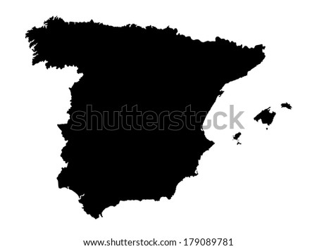 Spain vector map high detailed, isolated on white background. black silhouette illustration. - stock vector