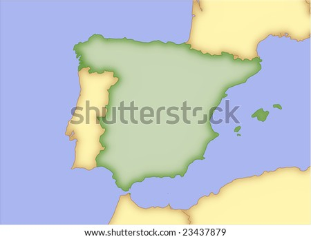 Spain, vector map, with borders of surrounding countries. 5 named layers, fully editable. - stock vector
