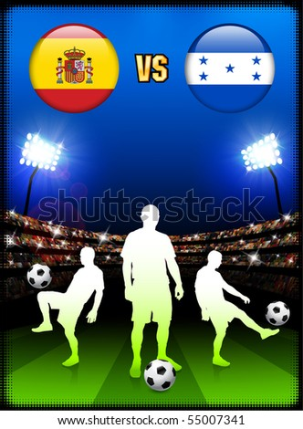 Spain versus Honduras on Stadium Event Background Original Illustration - stock vector