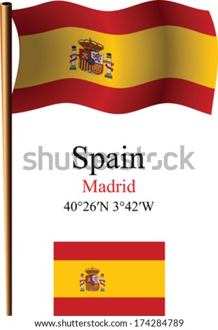 spain wavy flag and coordinates against white background, vector art illustration, image contains transparency