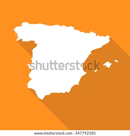 Spain white map,border flat simple style with long shadow on orange background - stock vector