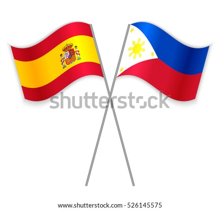 Spanish and Philippine crossed flags. Spain combined with Philippines isolated on white. Language learning, international business or travel concept.