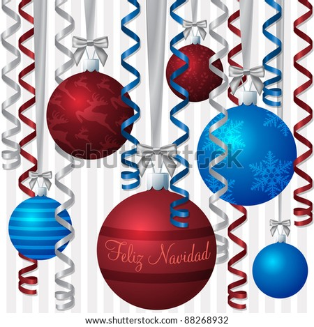 """Spanish blue and red ribbon and bauble inspired """"Merry Christmas"""" card in vector format. - stock vector"""