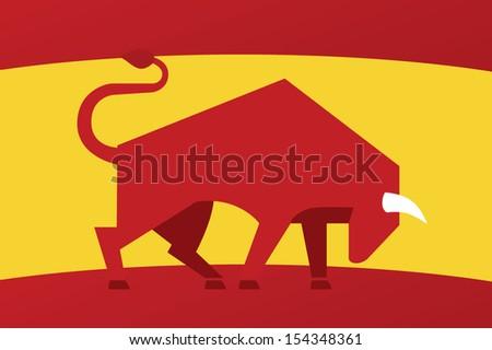 Spanish bull icon - stock vector