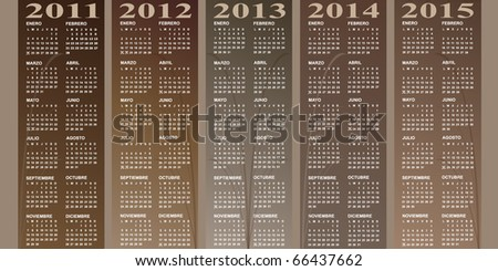 Spanish calendar 2011 - 2012 - 2013 - 2014 - 2015 - stock vector
