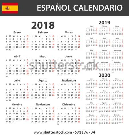 Spanish Calendar 2018 2019 2020 Scheduler Stock Vector 691196734
