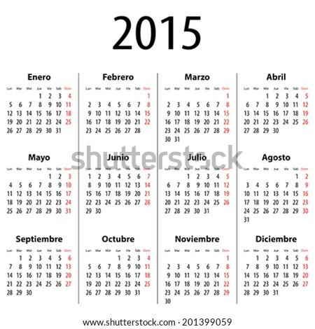 Spanish Calendar for 2015. Mondays first. Bold digits. Vector illustration - stock vector