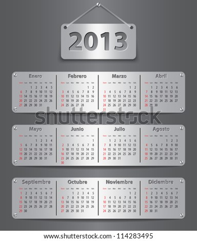 Spanish calendar for 2013 with attached metallic tablets. Vector illustration - stock vector