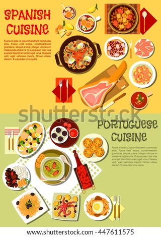 Spanish cuisine dishes served with iberian ham, octopus dishes, cabbage soup with sausages and fries topped with hot sandwich, gazpacho, garlic shrimps, baked cod, tarts with sangria and fruit brandy