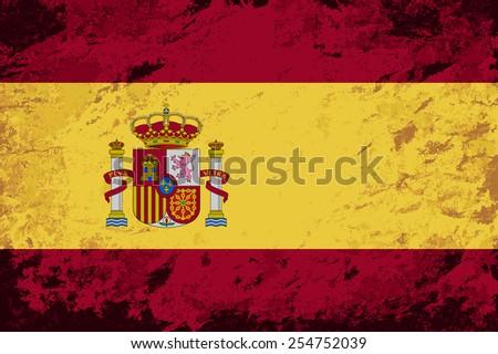 Spanish flag. Grunge background. Vector illustration - stock vector