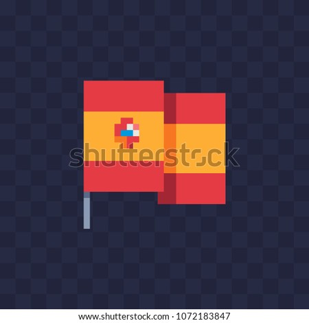 Spanish flag pixel art icon national symbol country spain isolated vector illustration 8 bit