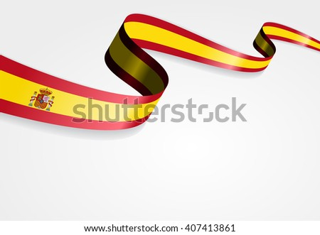 Spanish flag wavy abstract background. Vector illustration. - stock vector