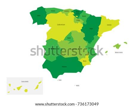 Catalonia Autonomous Community Map Spain Stock Vector 729836575