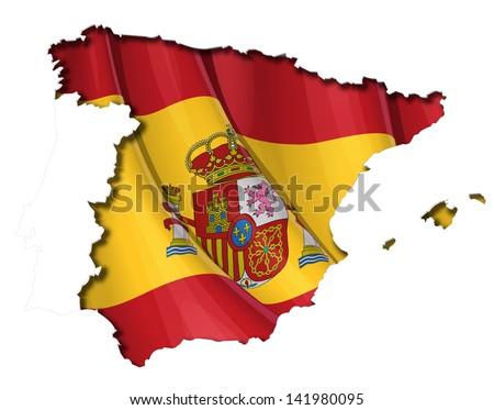 Spanish Map-Flag - stock vector