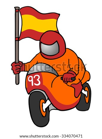 spanish pilot with flag - stock vector
