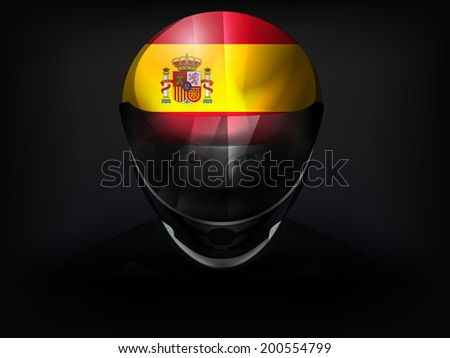 Spanish racer with flag on helmet vector closeup illustration - stock vector