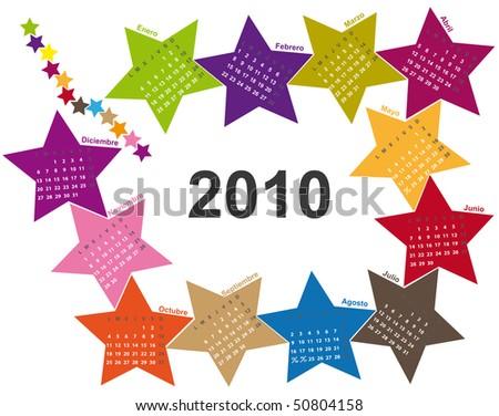 Spanish star calendar 2010 - stock vector