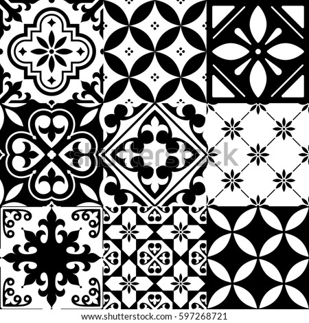 Spanish Tile Pattern Moroccan Tiles Design Stock Vector