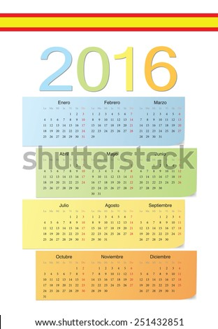 Spanish 2016 vector color calendar. Week starts from Monday. - stock vector